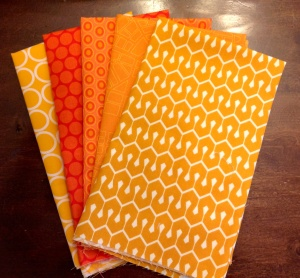 This was a recent purchase from Marmalade Fabrics. That have great fabric of the month clubs for the color wheel. How fitting that April's color is orange...my birthday month!